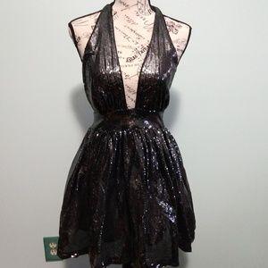 New Years Dress BEBE Sequin Halter Dress